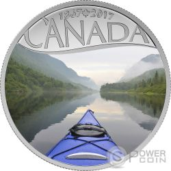 KAYAKING ON THE RIVER Celebrating 150th Anniversary Серебро Монета 10$ Канада 2017