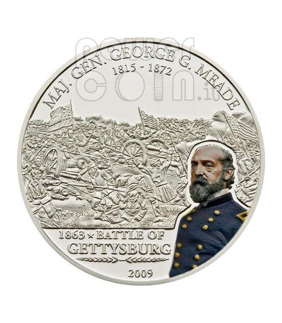MEADE GEORGE Great Battles Commanders Moneda Plata 5$ Cook Islands 2009