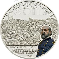 MEADE GEORGE Great Battles Commanders Moneta Argento 5$ Cook Islands 2009