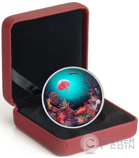 ILLUMINATED UNDERWATER REEF Backlit Silver Coin 30$ Canada 2016