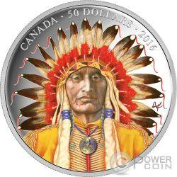 WANDUTA PORTRAIT OF A CHIEF Red Arrow Sioux Dakota Moneta Argento 50$ Canada 2016