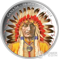 WANDUTA PORTRAIT OF A CHIEF Red Arrow Sioux Dakota Silver Coin 50$ Canada 2016