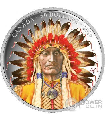 WANDUTA PORTRAIT OF A CHIEF Red Arrow Sioux Dakota Silver Coin 50$ Canada 2016