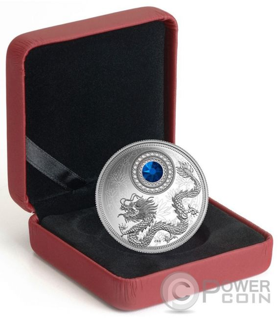 BIRTHSTONES SEPTEMBER Gemstone Swarovski Silver Coin 5$ Canada 2016