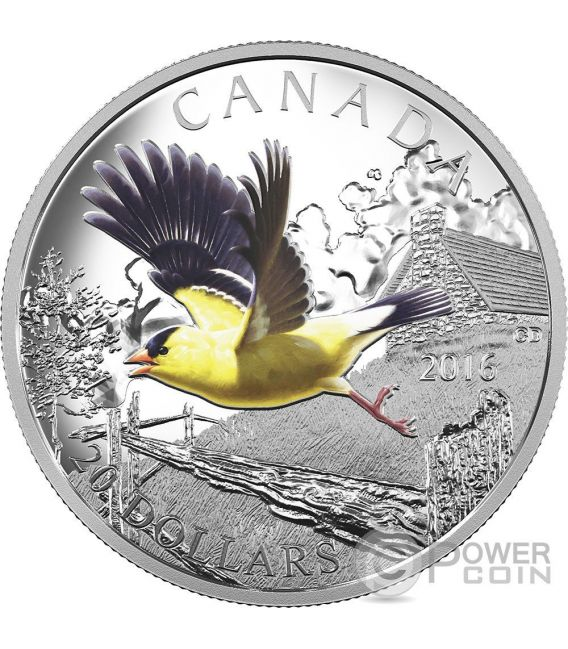AMERICAN GOLDFINCH The Migratory Birds Convention 100 Years of Protection Silver Coin 20$ Canada 2016