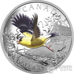 AMERICAN GOLDFINCH The Migratory Birds Convention Uccelli Migratori Moneta Argento 20$ Canada 2016