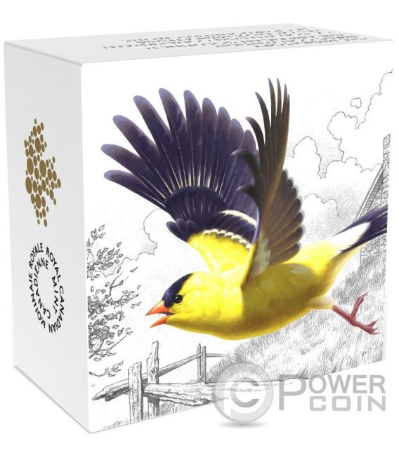 AMERICAN GOLDFINCH The Migratory Birds Convention Uccelli Migratori Moneta Argento 20$ Canada 2016
