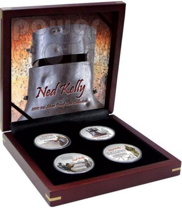 NED KELLY Bandito Fuorilegge Set 4 Monete Argento 1$ Tuvalu 2010