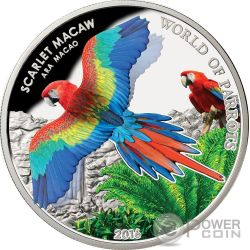 SCARLET MACAW 3D World Of Parrots Silver Coin 5$ Cook Islands 2016