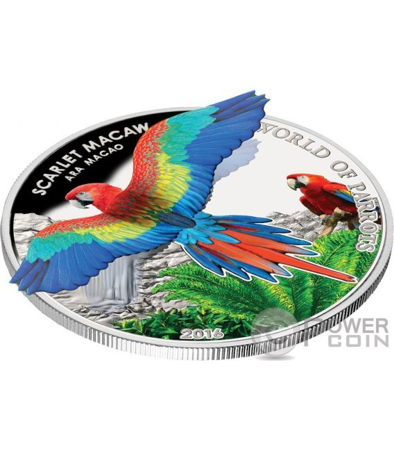 SCARLET MACAW 3D Pappagallo Parrot Moneta Argento 5$ Cook Islands 2016