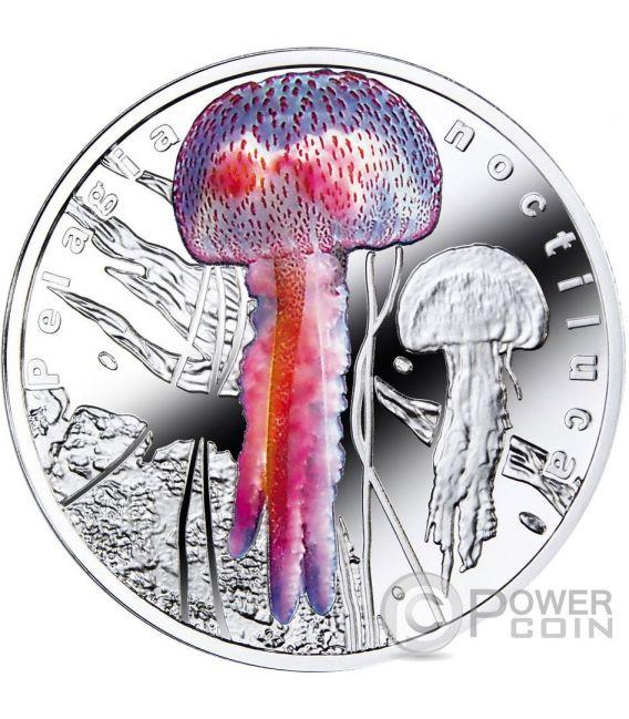 PELAGIA NOCTILUCA Bioluminescent Animals Medusa Jellyfish Moneta Plata 1$ Niue 2016