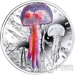 PELAGIA NOCTILUCA Bioluminescent Animals Medusa Jellyfish Silver Coin 1$ Niue 2016
