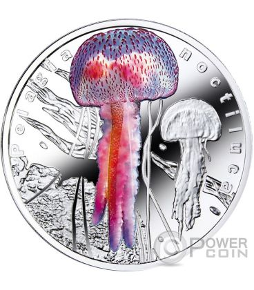 PELAGIA NOCTILUCA Bioluminescent Animals Medusa Jellyfish Moneta Argento 1$ Niue 2016