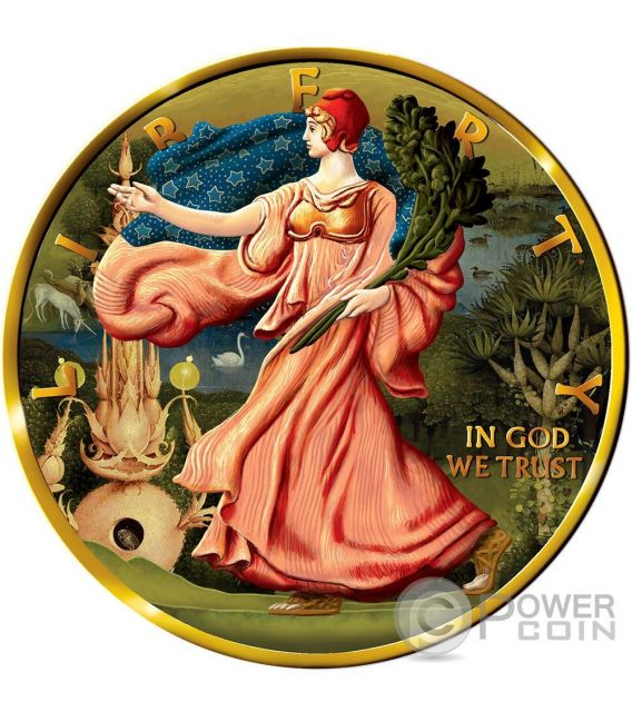OUNCE OF ART Britannia Libertad Walking Liberty Hieronymus Bosch Set 3 x 1 oz Moneta Argento Regno Unito Messico USA 2016