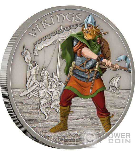 VIKINGS Warriors of History Vichinghi Guerrieri della Storia 1 Oz Moneta Argento 2$ Niue 2016