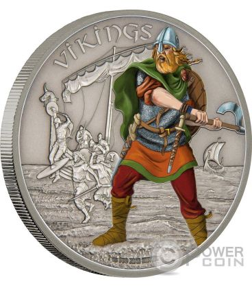 VIKINGS Warriors of History Vichinghi Guerrieri della Storia 1 Oz Moneta Argento 2$ Niue 2016