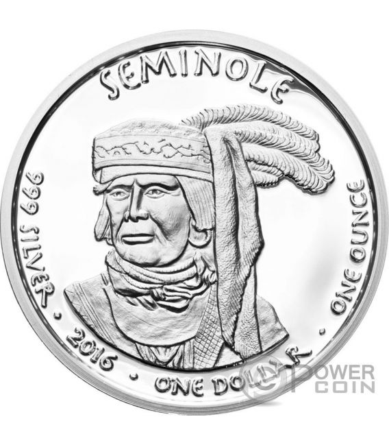 FLORIDA ALLIGATOR Seminole Riserva Indiana 1 Oz Moneta Argento 1$ Dollaro Jamul 2016