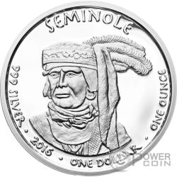 FLORIDA ALLIGATOR Seminole Riserva Indiana 1 Oz Moneta Argento 1$ Dollaro Jamul 2016