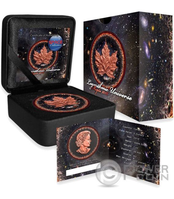 LOGARITHMIC UNIVERSE Universo Maple Leaf Space Collection 1 Oz Moneta Argento 5$ Canada 2016