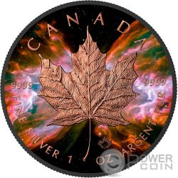 BUTTERFLY NEBULA Maple Leaf Space Collection 1 Oz Moneda Plata 5$ Canada 2016
