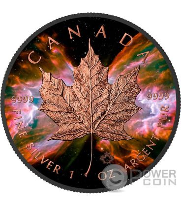 BUTTERFLY NEBULA Maple Leaf Space Collection 1 Oz Silver Coin 5$ Canada 2016