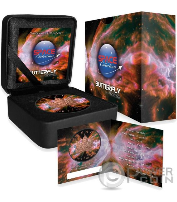 BUTTERFLY NEBULA Maple Leaf Space Collection 1 Oz Moneta Argento 5$ Canada 2016