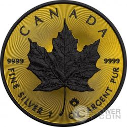 MAPLE LEAF Gold Shadows 1 Oz Silver Coin 5$ Canada 2016
