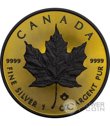 MAPLE LEAF Foglia Acero Gold Shadows 1 Oz Moneta Argento 5$ Canada 2016