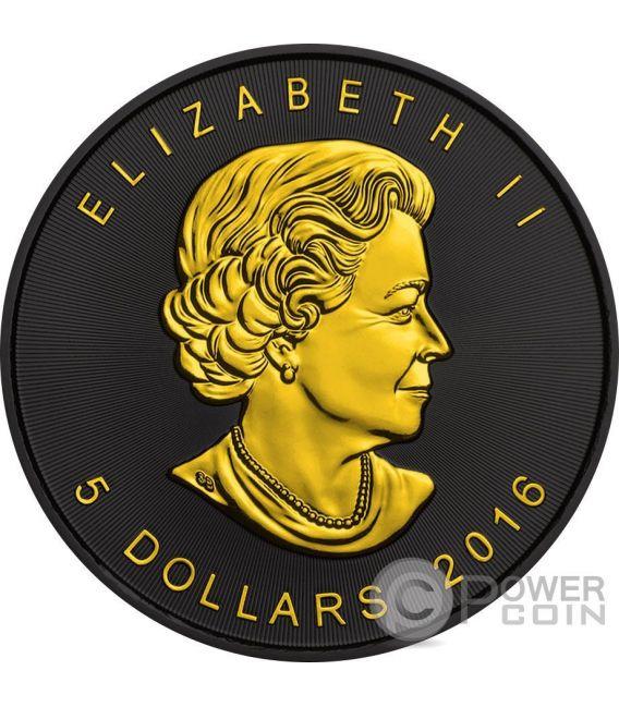 MAPLE LEAF Gold Shadows 1 Oz Silber Münze 5$ Canada 2016