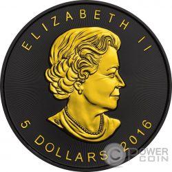 MAPLE LEAF Золото Shadows 1 Oz Серебро Монета 5$ Канада 2016