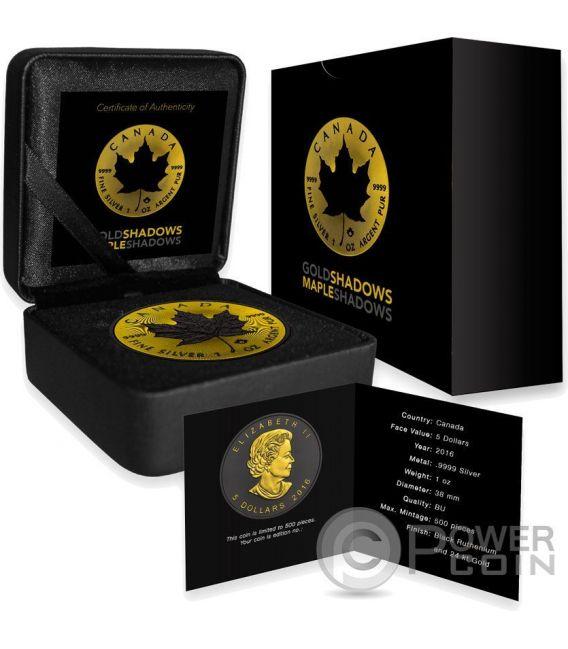 MAPLE LEAF Gold Shadows 1 Oz Silver Coin 5$ Canada 2016
