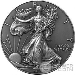 AMERICAN SILVER EAGLE Walking Liberty Antique Finish 1 Oz Moneda Plata 1$ USA 2016