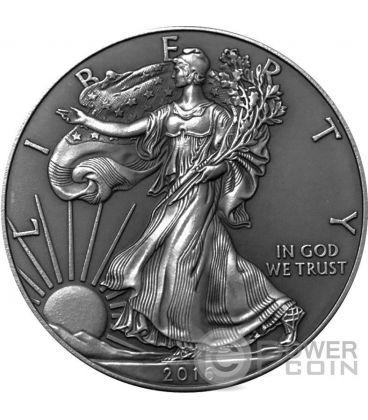 AMERICAN SILVER EAGLE Walking Liberty Finitura Antica 1 Oz Moneta Argento 1$ US Mint 2016