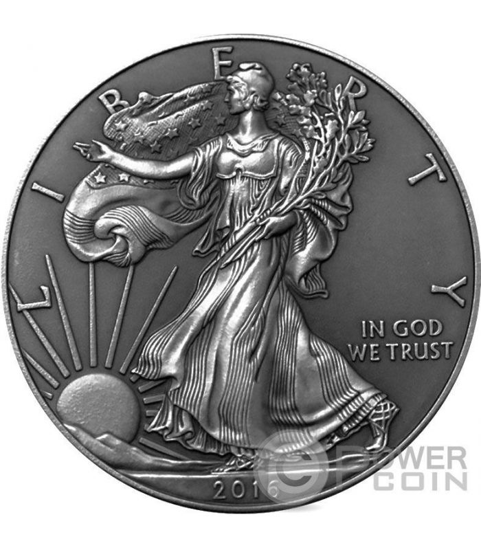 Antiques Us: AMERICAN SILVER EAGLE Walking Liberty Antique Finish 1 Oz