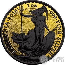 BRITANNIA Gold Shadows 1 Oz Moneta Argento 2£ Regno Unito 2016