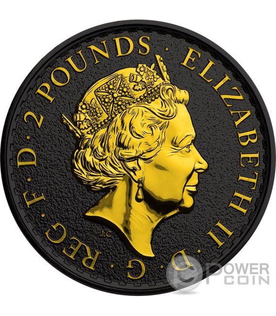 BRITANNIA Золото Shadows 1 Oz Серебро Монета 2£ Великобритания 2016