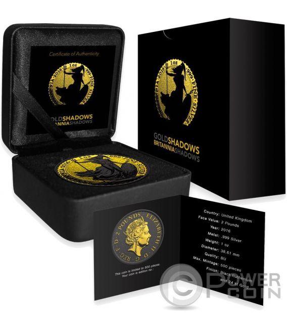 BRITANNIA Oro Shadows 1 Oz Moneda Plata 2£ United Kingdom 2016