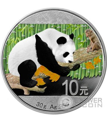 CHINESE PANDA MONKEY Lunar Moneta Argento 10 Yuan Cina 2016