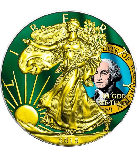 US STATE FLAGS WASHINGTON Walking Liberty Oro Bandiera Moneta Argento 1$ USA 2015