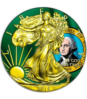 US STATE FLAGS WASHINGTON Walking Liberty Oro Bandiera Moneta Argento 1$ US Mint 2015