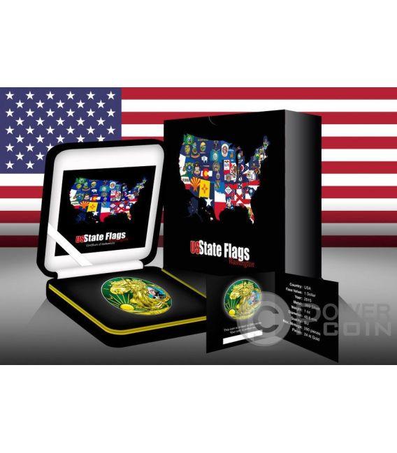 US STATE FLAGS WASHINGTON Walking Liberty Oro Bandiera Moneta Argento 1$ US Mint 2015
