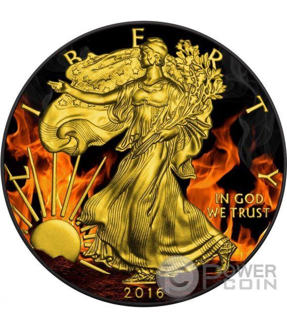BURNING WALKING LIBERTY Eagle Fire Black Ruthenium Gold 1 Oz Silver Coin 1$ US Mint 2016