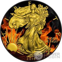 BURNING WALKING LIBERTY Eagle Fire Black Ruthenium Oro 1 Oz Moneda Plata 1$ US Mint 2016