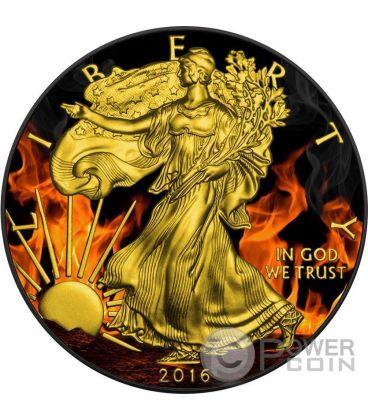 BURNING WALKING LIBERTY Eagle Fuoco Nera Rutenio Moneta Argento 1$ US Mint 2016