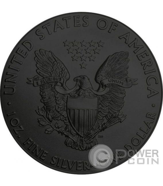 BURNING WALKING LIBERTY Eagle Fire Black Ruthenium Gold 1 Oz Silber Münze 1$ US Mint 2016