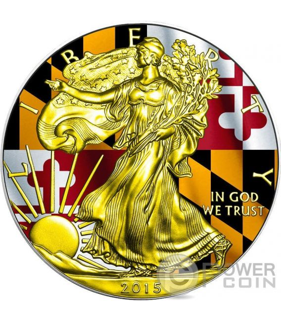 US STATE FLAGS MARYLAND Walking Liberty Oro Bandiera Moneta Argento 1$ US Mint 2015