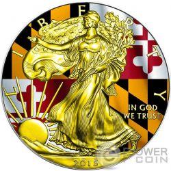 US STATE FLAG MARYLAND Walking Liberty 1 Oz Moneda Plata 1$ USA 2015