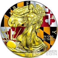 US STATE FLAGS MARYLAND Walking Liberty Oro Bandiera Moneta Argento 1$ US Mint 2015