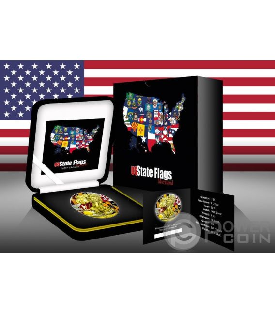 US STATE FLAGS MARYLAND Walking Liberty Oro Bandiera Moneta Argento 1$ USA 2015