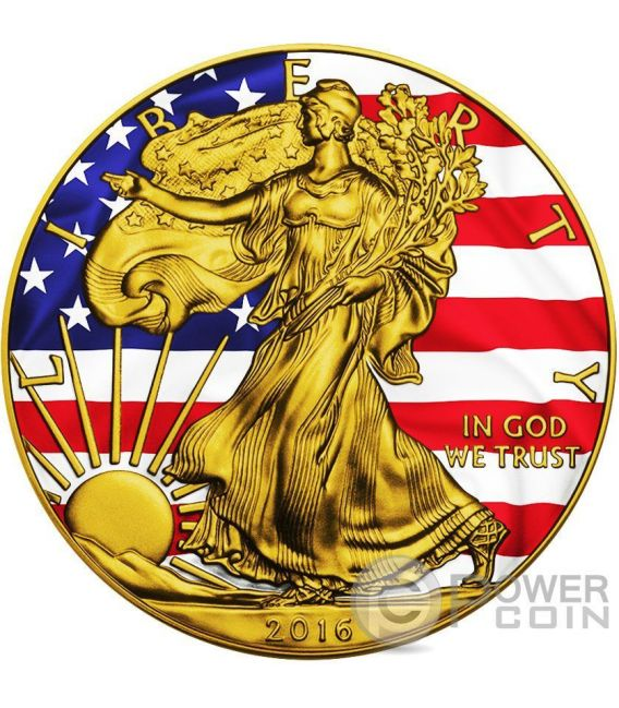 AMERICAN PATRIOTIC Silver Eagle Walking Liberty Bandiera 1 Oz Moneta Argento 1$ US Mint 2016